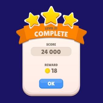 Viene visualizzato il menu completo del livello con il punteggio delle stelle e la gui dei pulsanti vettore premium