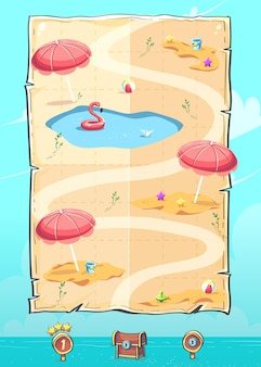 Immagine vettoriale dell'interfaccia utente a scorrimento verticale della mappa di livello per dispositivi mobili hello summer the puzzle game