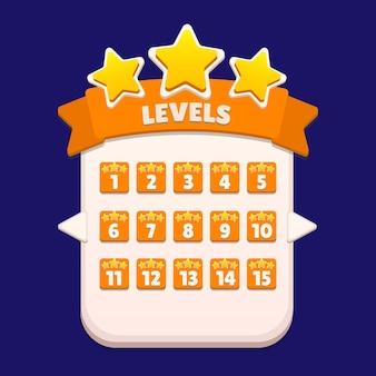 Schermata a comparsa del menu di selezione del livello con stelle e pulsante vettore premium