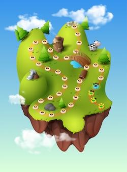 La foresta di scena del menu del gioco di selezione livellata, montagne della giungla si appanna gli alberi