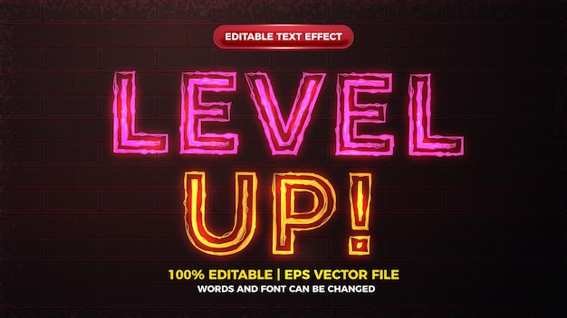 Effetto di testo modificabile in grassetto bagliore elettrico avviso aumento di livello