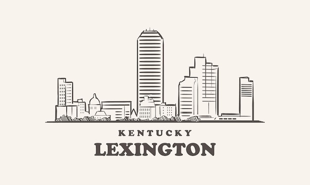 Schizzo disegnato di lexington skyline kentucky