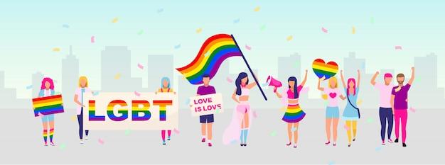 Illustrazione di protesta per la protezione dei diritti della comunità lgbt. parata dell'orgoglio, concetto del festival. dimostrazione di strada lgbt, partecipanti al movimento con bandiere arcobaleno e personaggi dei cartoni animati con striscioni