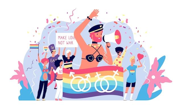 Concetto di lgbt. attivismo dell'orgoglio lgbtq e leggi bisessuali, evento di festa felice per gay e lisbona