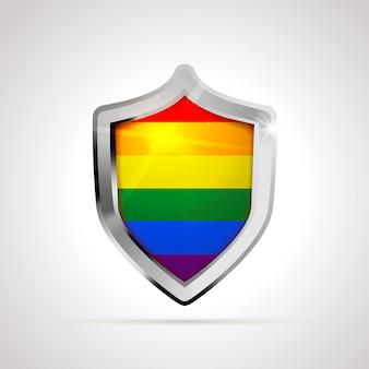 Bandiera lgbt proiettata come uno scudo lucido