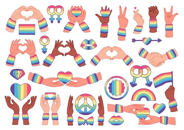 Simboli di orgoglio gay e lesbico lgbt, arcobaleno, cuore. modello di icone. mese dell'orgoglio. illustrazione vettoriale piatto isolato su sfondo bianco