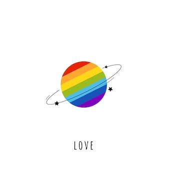 Pianeta lgbt in stile piatto del fumetto nei colori dell'arcobaleno. scheda con segno lgbt.