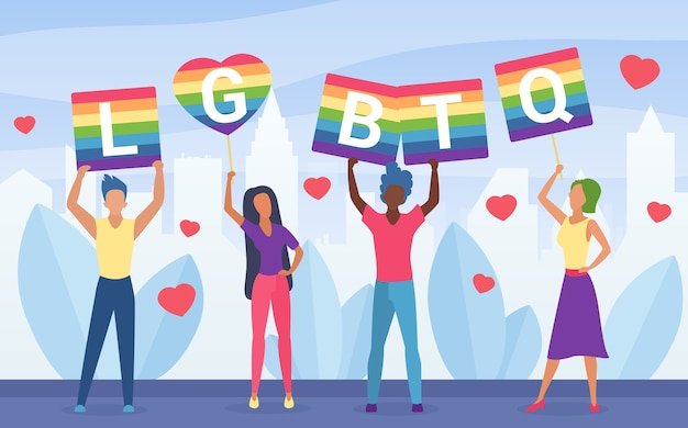 Illustrazione di concetto di attivismo di orgoglio lgbt.