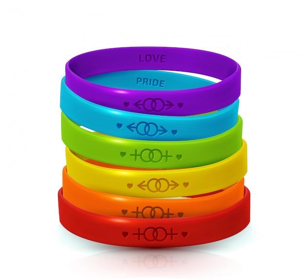 Concetto di orgoglio lgbt. braccialetti di gomma arcobaleno per lesbiche e gay. locandina giornata della bisessualità e giornata internazionale della tolleranza