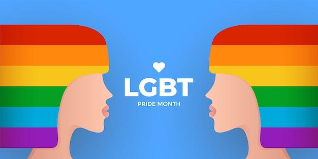 Modello di design del mese dell'orgoglio lgbt con silhouette di donna woman