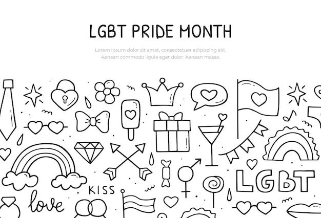 Mese dell'orgoglio lgbt. modello di banner web. illustrazione disegnata a mano. stile di schizzo di scarabocchio.