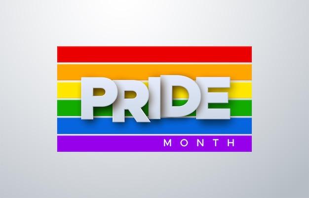 Mese dell'orgoglio lgbtq sulla bandiera arcobaleno