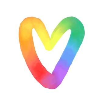 Simbolo del cuore arcobaleno lgbtq forma dipinta ad acquerello di cuore che mescola i colori