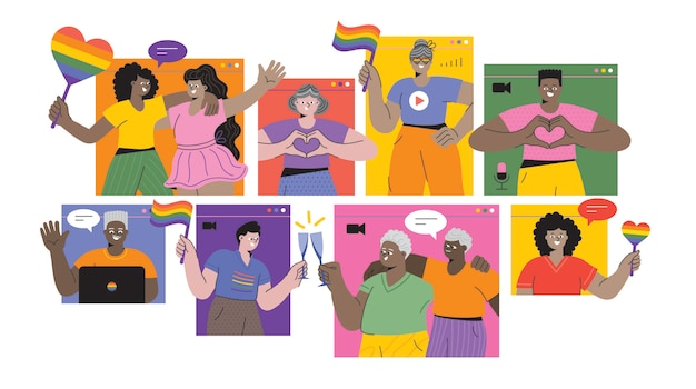 Evento virtuale dell'orgoglio lgbtqi celebrazione del mese dell'orgoglio stock online