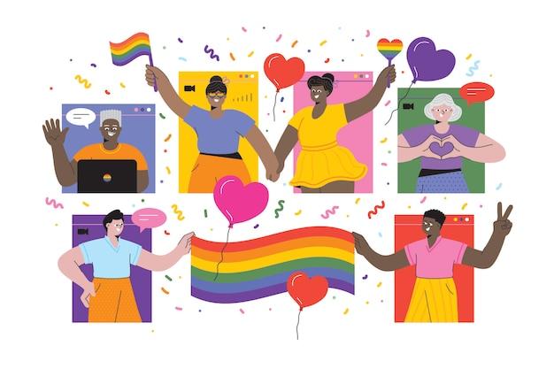 Lgbtqi pride evento virtuale che celebra l'orgoglio online illustrazione stock