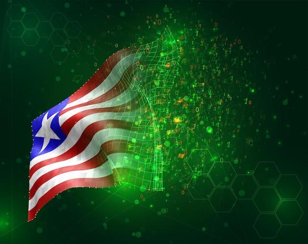 Liberia, bandiera 3d vettoriale su sfondo verde con poligoni e numeri di dati