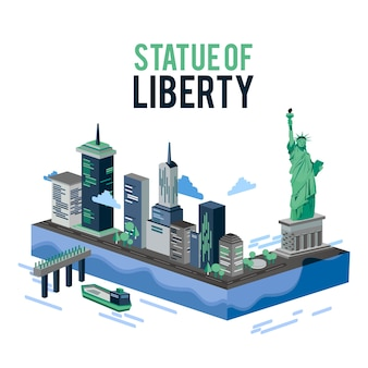 Illustrazione isometrica di vettore di vista del paesaggio di libertà