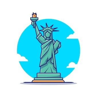 Illustrazione dell'icona del fumetto della statua della libertà. famoso edificio in viaggio icona concetto isolato. stile cartone animato piatto