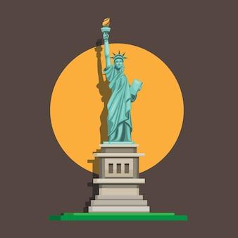 Monumento della statua della libertà, punto di riferimento famoso americano nella vista frontale. cartone animato