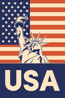 Poster della statua della libertà Vettore Premium
