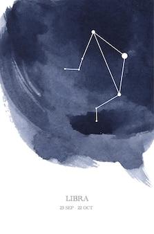 Illustrazione dell'acquerello di astrologia della costellazione della bilancia. simbolo dell'oroscopo della bilancia fatto di scintillii e linee di stelle.