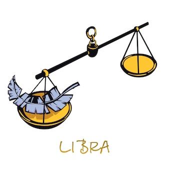 Bilancia segno zodiacale piatto cartoon. oggetto della bilancia della giustizia celeste. simbolo di oroscopo astrologico, concetto di equilibrio, equilibrio e armonia. elemento disegnato a mano isolato