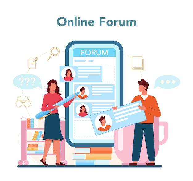 Servizio o piattaforma online del bibliotecario.