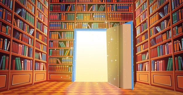Fumetto di scaffali del libro della biblioteca