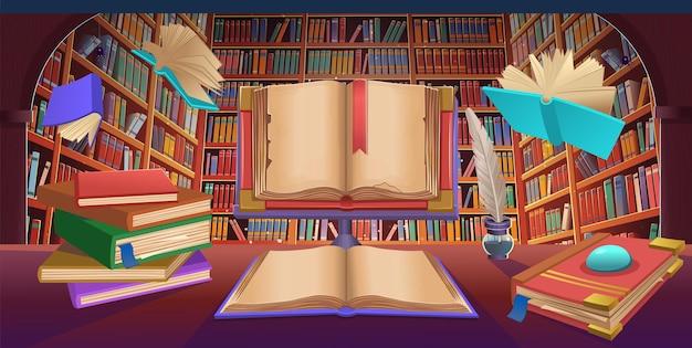 Scaffali della biblioteca con libri volanti, pila di libri, vecchio libro aperto, illustrazione vettoriale dei cartoni animati.