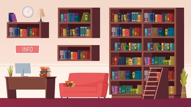 Interno della biblioteca. scaffali per libri, info point con computer. sala lettura o studio
