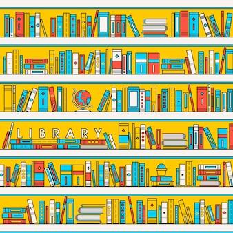 Illustrazione della scena della biblioteca in stile linea piatta
