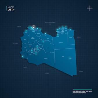 Mappa della libia con punti luce al neon blu