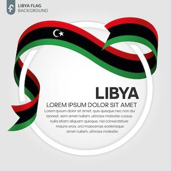 Illustrazione vettoriale di bandiera del nastro della libia su sfondo bianco