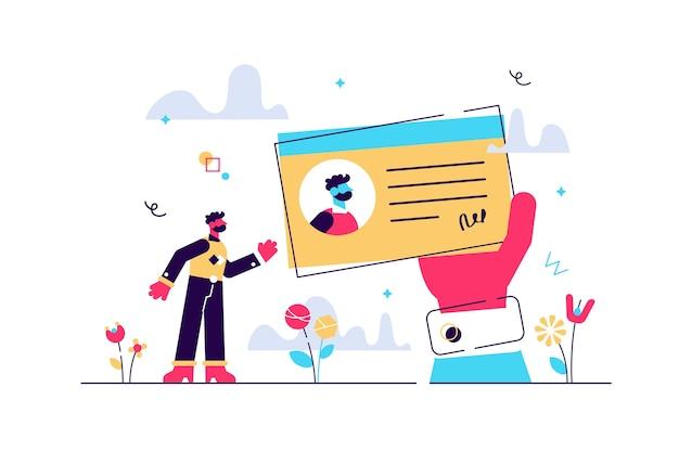 Licenza come documento legale per il concetto di persone minuscole piatto certificato di identificazione. esempio di carta di plastica della patente di guida. carta d'identità come informazione ufficiale di cittadinanza.