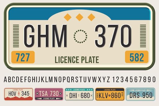 Carattere di targhe automobilistiche. lettere e numeri dei caratteri in rilievo