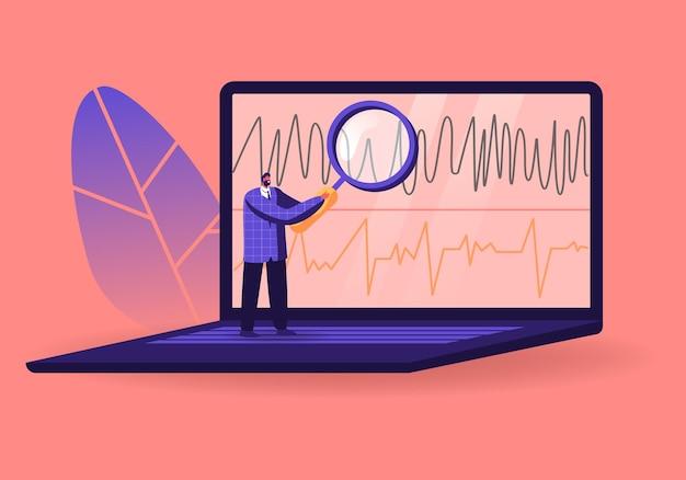Rilevatore di bugie operatore minuscolo personaggio maschile guardando attraverso un'enorme lente d'ingrandimento sul grafico del poligrafo sullo schermo del laptop. Vettore Premium