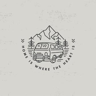 Liear icona o logo montagne