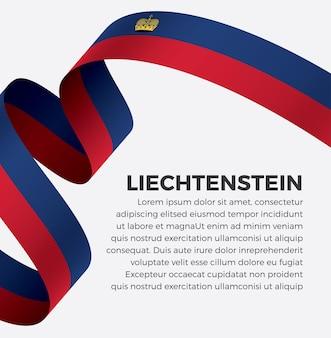 Illustrazione vettoriale di bandiera del nastro del liechtenstein su uno sfondo bianco vettore premium