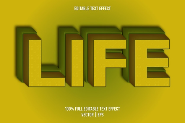 Effetto di testo modificabile in vita stile fumetto colore giallo e verde