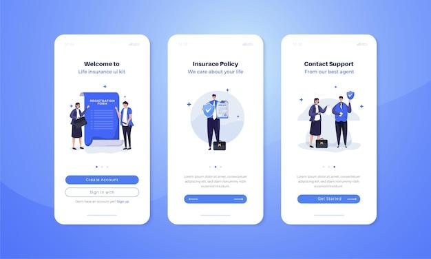 Illustrazione di assicurazione sulla vita impostata sul concetto di schermo a bordo mobile