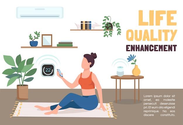 Modello di banner di miglioramento della qualità della vita. opuscolo sulle tecnologie iot, concetto di poster con personaggi dei cartoni animati. volantino orizzontale del sistema di climatizzazione, volantino con posto per il testo