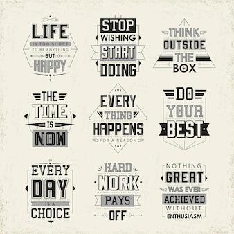 Set di citazioni di vita isolato su sfondo beige