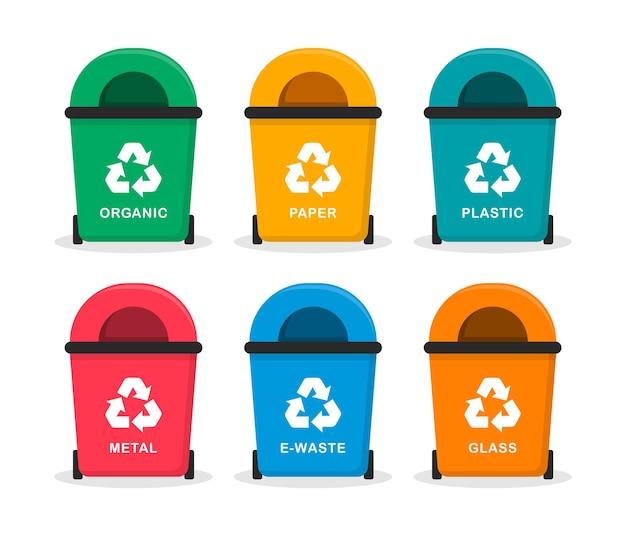 Concetto di riciclaggio dei rifiuti vitali set di bidoni della spazzatura colorati