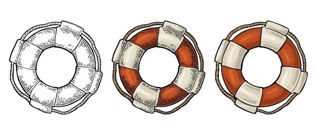 Salvagente con corda isolato su sfondo bianco. illustrazione di incisione vintage a colori di vettore per tatuaggio, web ed etichetta. disegnato a mano in uno stile grafico.