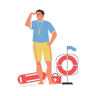 Uomo bagnino con varie attrezzature di soccorso