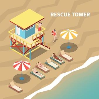 Bagnino sulla torre di salvataggio e persone sulla spiaggia illustrazione isometrica 3d
