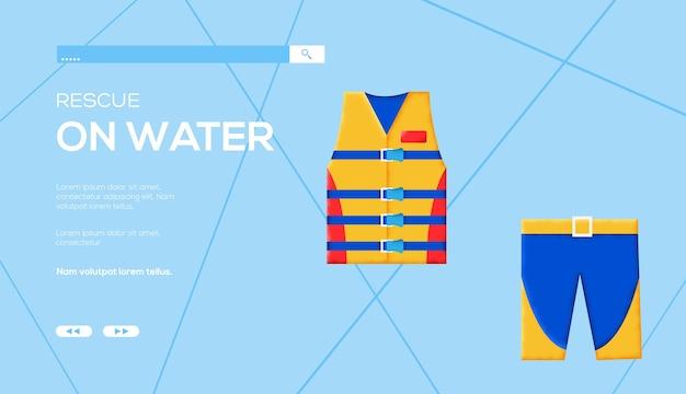 Volantino del concetto di uniforme del bagnino, banner web, intestazione dell'interfaccia utente, entra nel sito. .