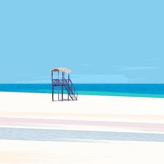 Torretta del bagnino su un'illustrazione di vettore della spiaggia di sabbia vuota