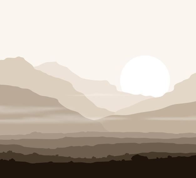 Paesaggio senza vita con enormi montagne sopra il sole