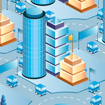 Scena di vita urbana isometrica 3d illustrazione di un isolato con case, strade, persone, automobili. illustrazione per l'industria del design e dei giochi.